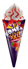 Бомба конус XXL пломбир Клубника 145гр